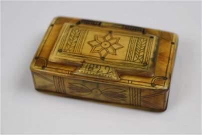 1822 Horn Scrimshaw Decorated Snuff Box