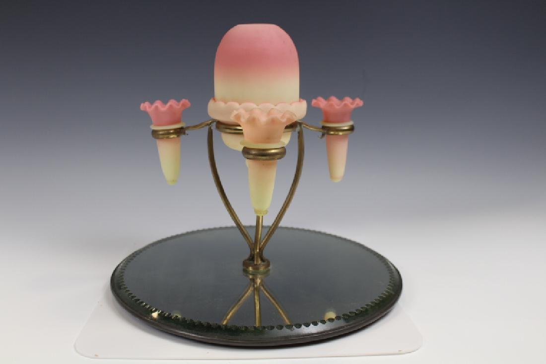 Webb Burmese Fairy Epergne Mirror Plateau w/Vases