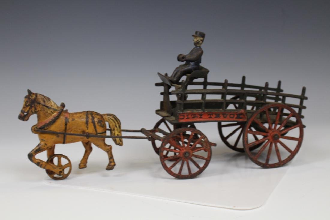 Cast Iron City Truck Stake Wagon, Horse & Driver