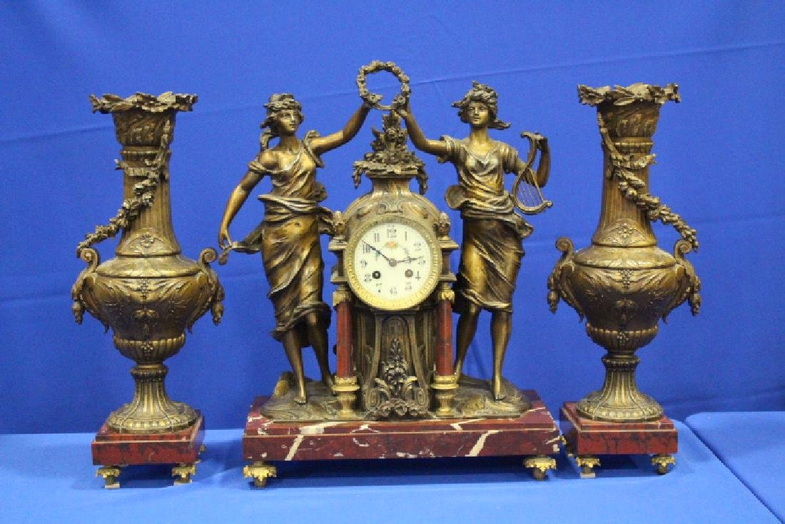 19th C 3-Pc French Statue Clock & Mantle Vases