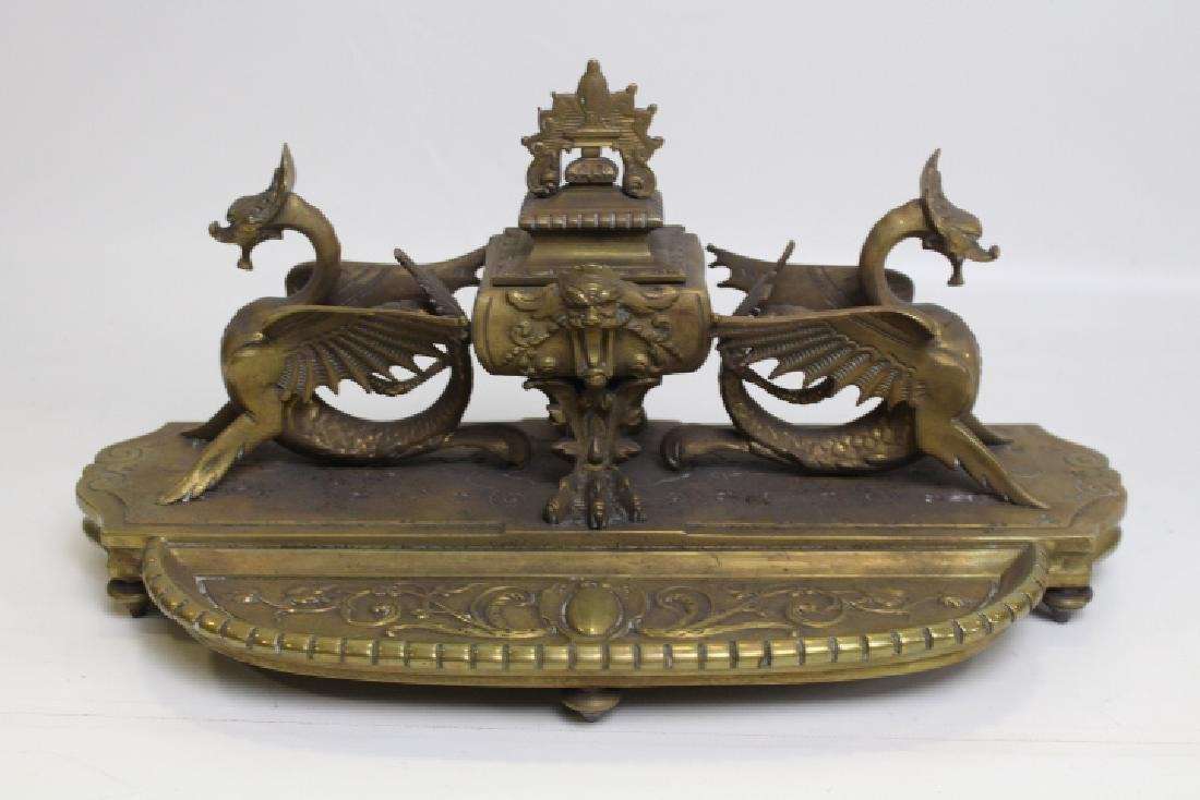 19th C Bronze Desk Inkwell w/ Dragons