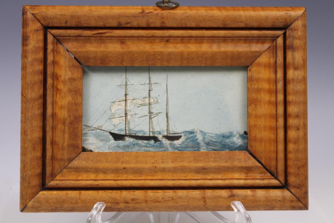 1877 Sailing Ship Small Painting Tiger Maple Frame