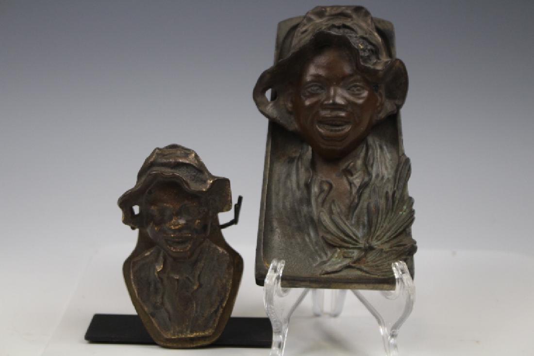 Black Americana Bronze Inkwell & Paper Clip