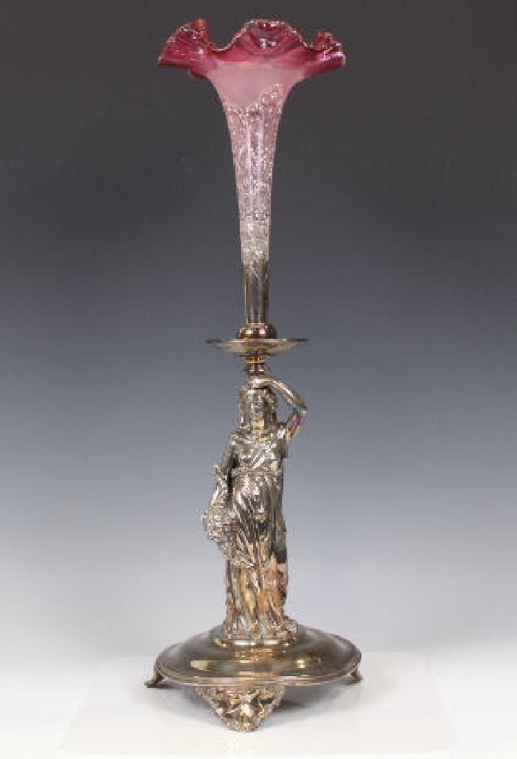 Victorian Art Glass Figural Epergne - Single Trumpet
