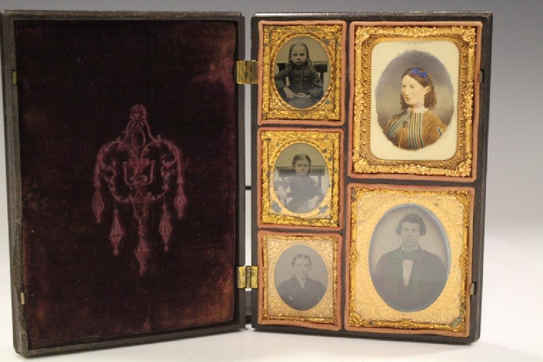 Large Union Case Holding 5 Family Portraits