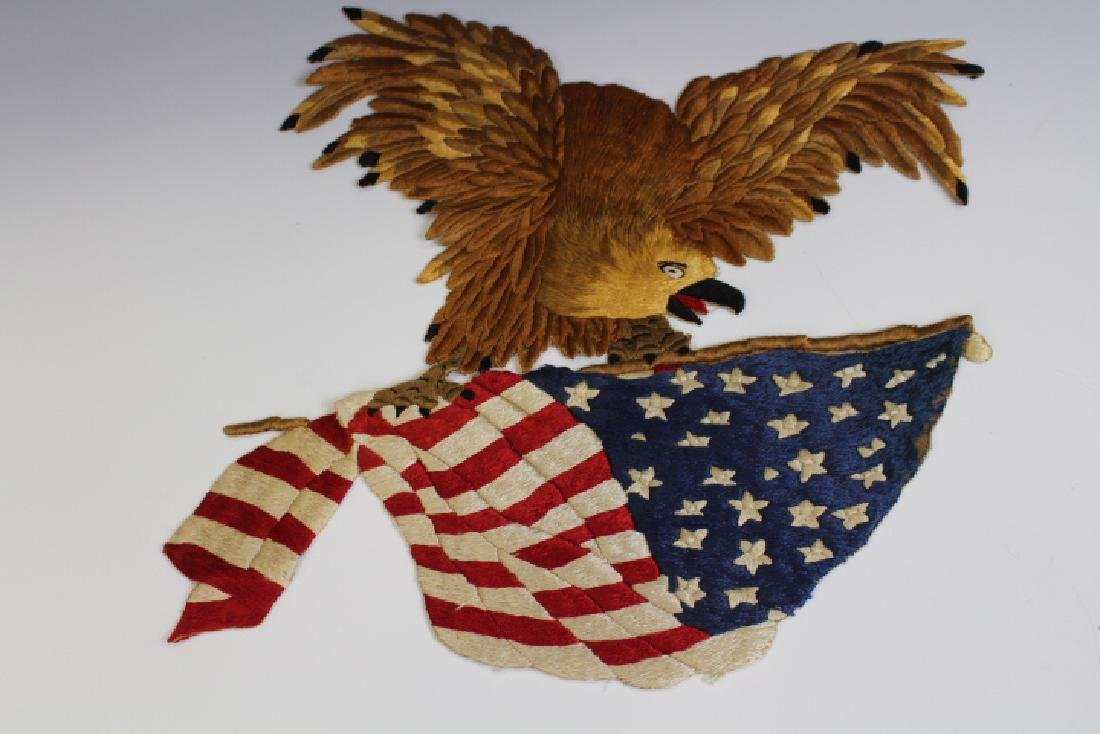 19th C Patriotic American Eagle & Flag Needlework