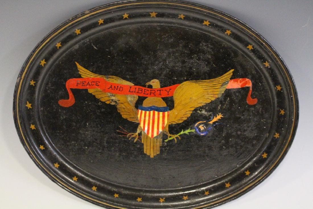 19th C Hand-Painted Peace & Liberty Tole Tray