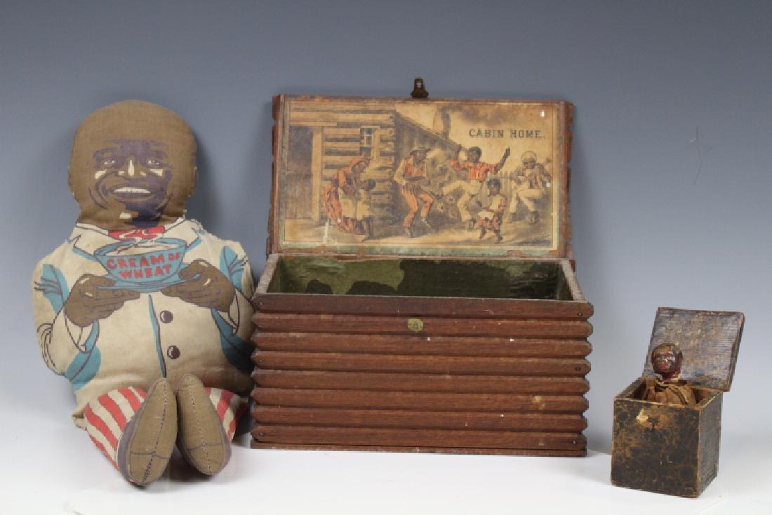 Early 20th C Black Americana Jack-in-Box Doll & Cabin