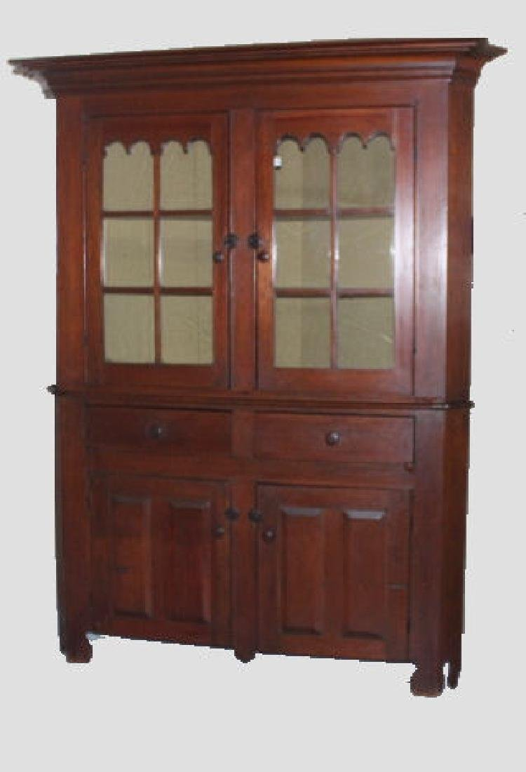 19th C 12-Pane 2-Piece Cherry Corner Cupboard