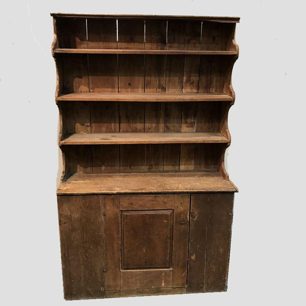 19th C Pine Primitive Stepback Cupboard