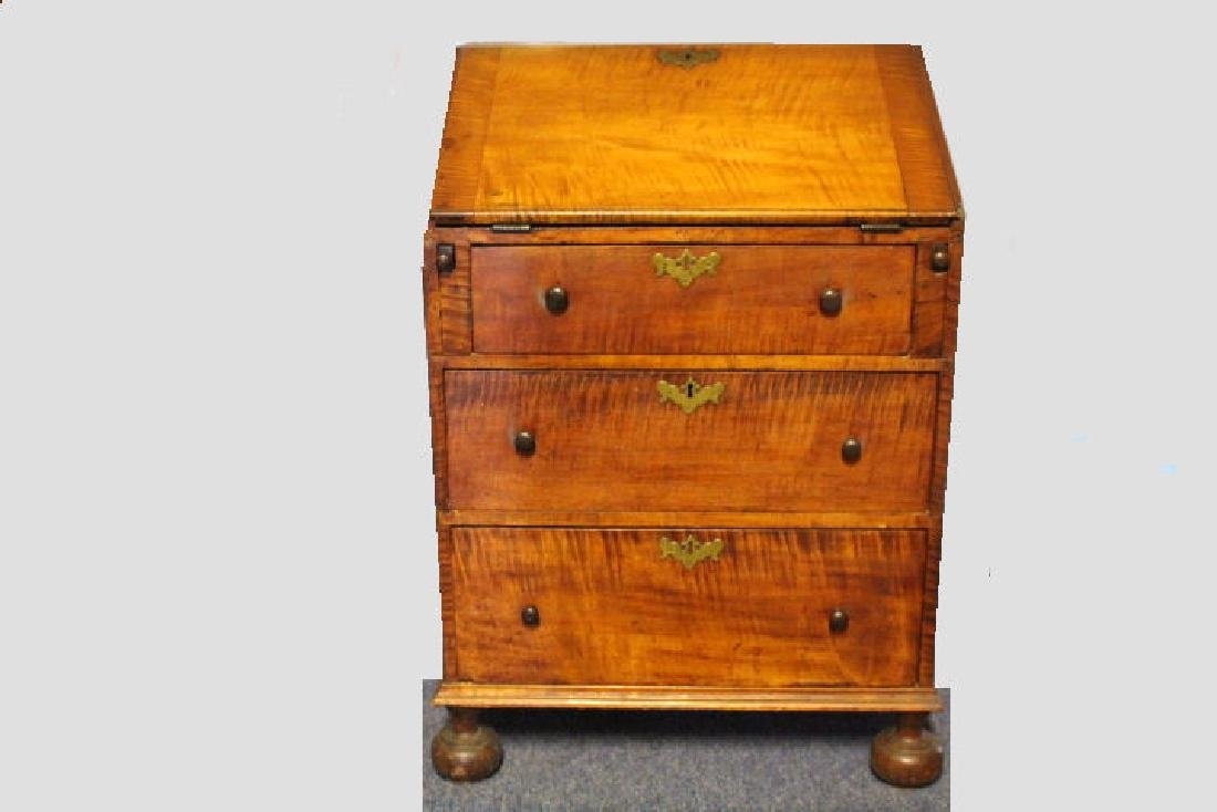 Rare Size Early 1800s Solid  Tiger Maple Desk
