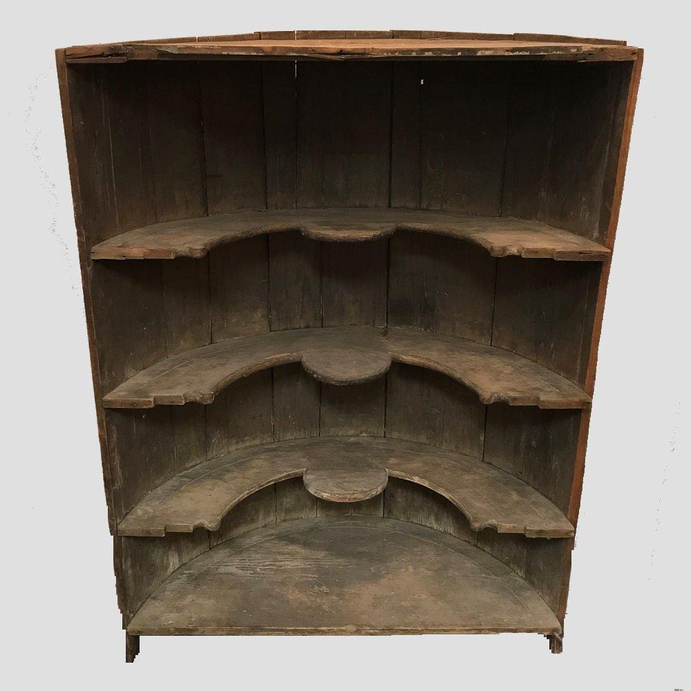 19th C Federal Period Pine Open Corner Cupboard
