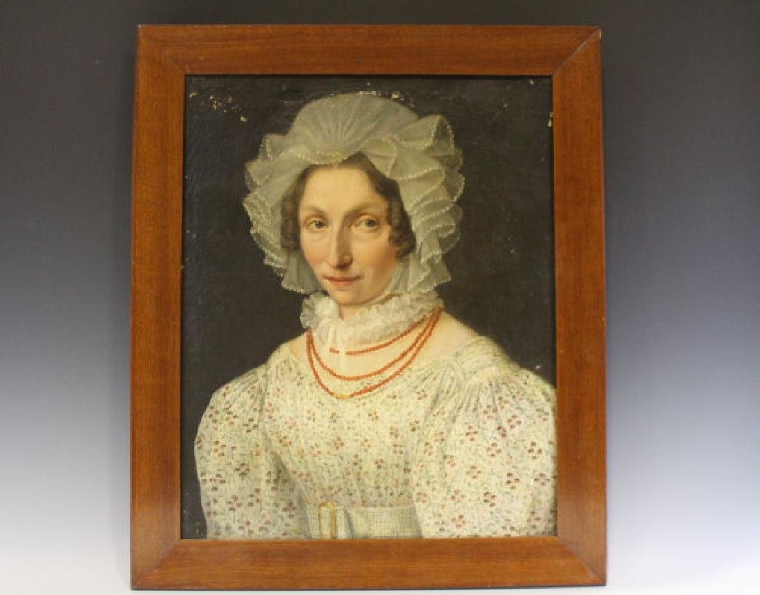 Early 19th C Oil on Canvas Portrait of Woman