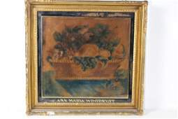 1840-60 Artist Signed Watercolor on Velvet Theorem
