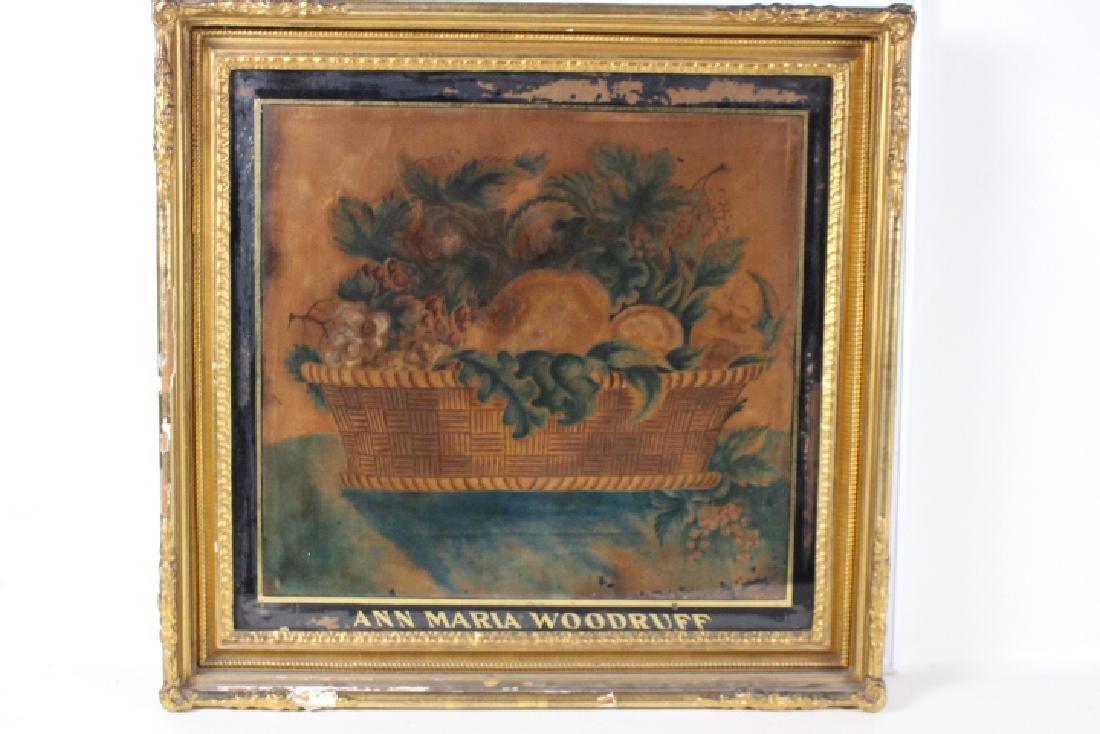 1840-60 Artist Signed Watercolor on Velvet Theorem