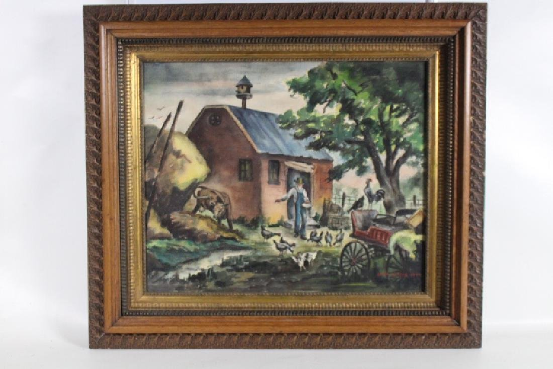 Folk Art Farm Painting by Loretta M. Noe, 1944