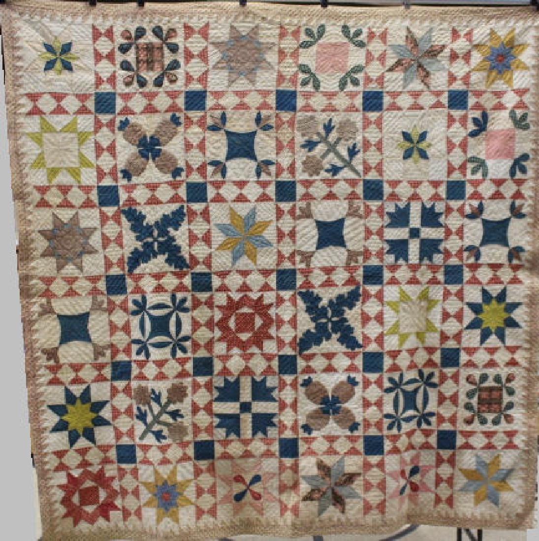 19th C Colorful Album Quilt - 36 Blocks