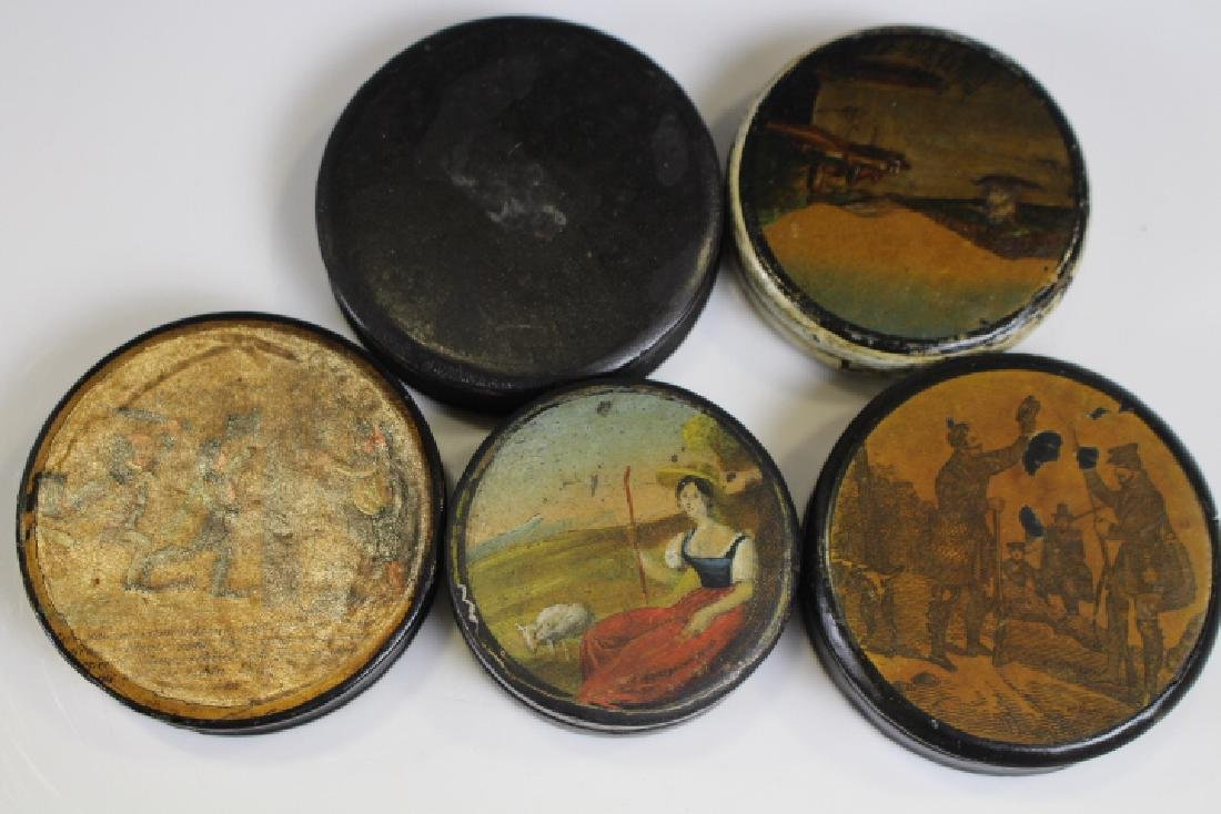 Ca 1840s Black Lacquered Papier Mache Snuff Boxes