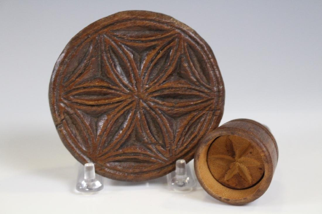 Hand Carved Walnut 19th C Butter Stamp Pinwheel
