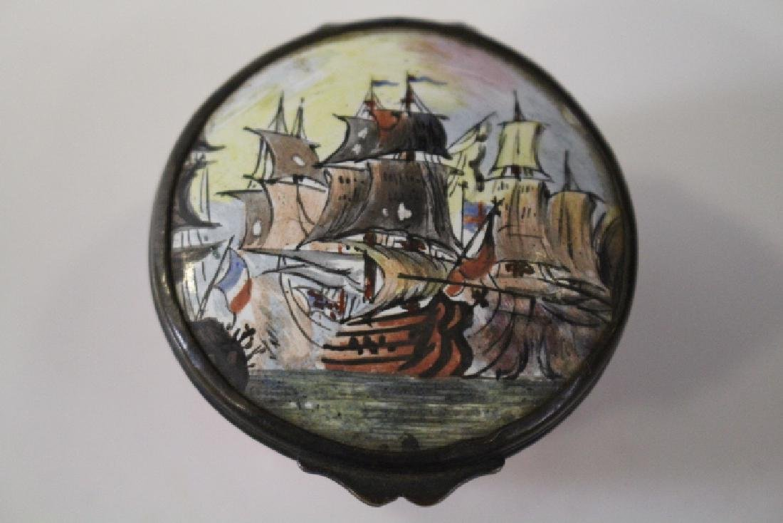 18th C Enameled Patch / Snuff Box w/ Sailing Ships