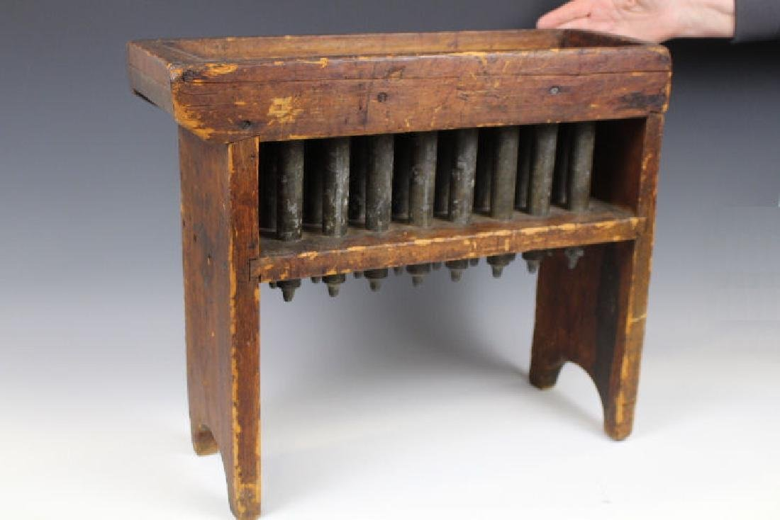19th C 24-Tube Pewter & Wood Frame Candle Mold
