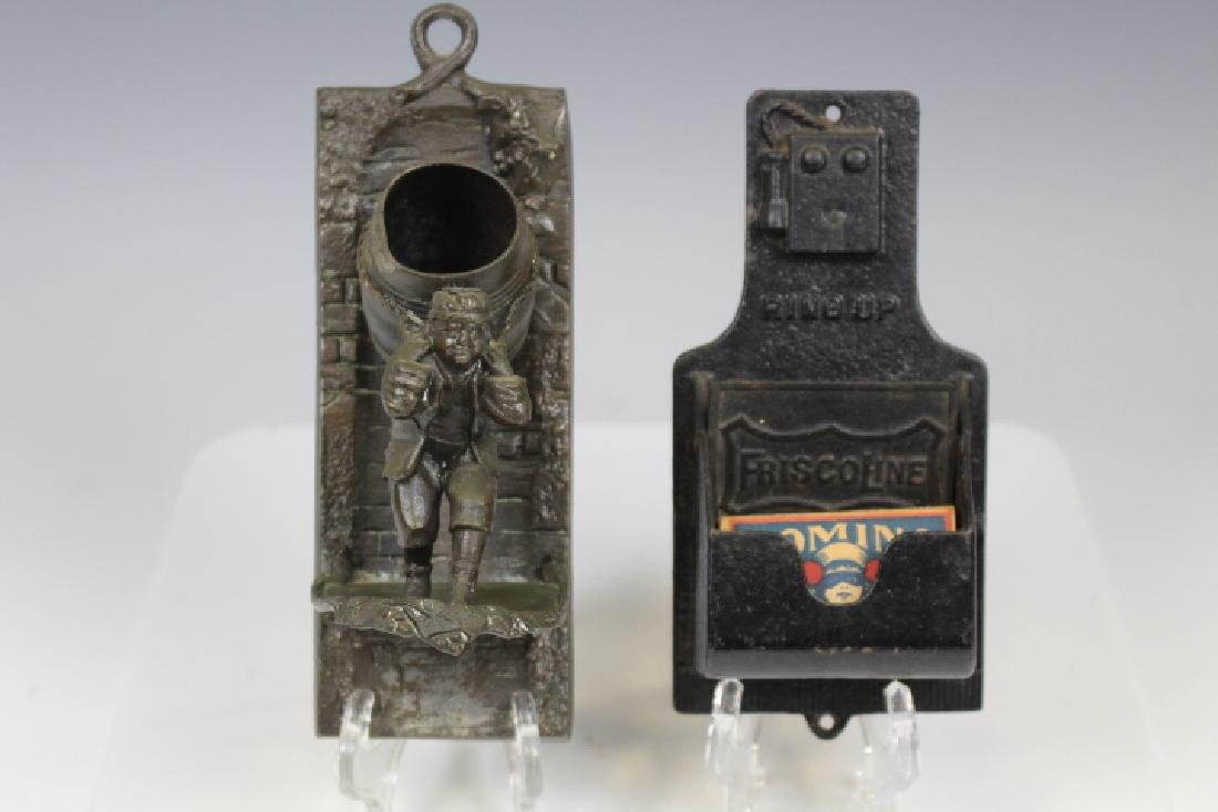 Figural Cast Iron Match Holders - Wall Phone & Other