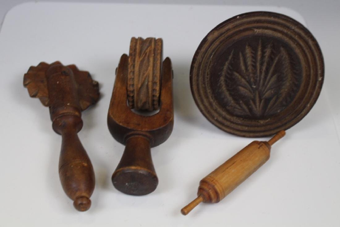 19th C Wooden Kitchen Tools - Crimper & More
