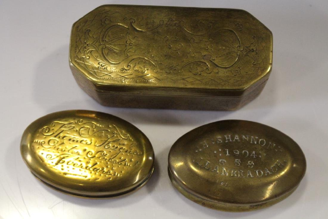 Lot of 4 Brass Snuff Boxes - Early 20th C