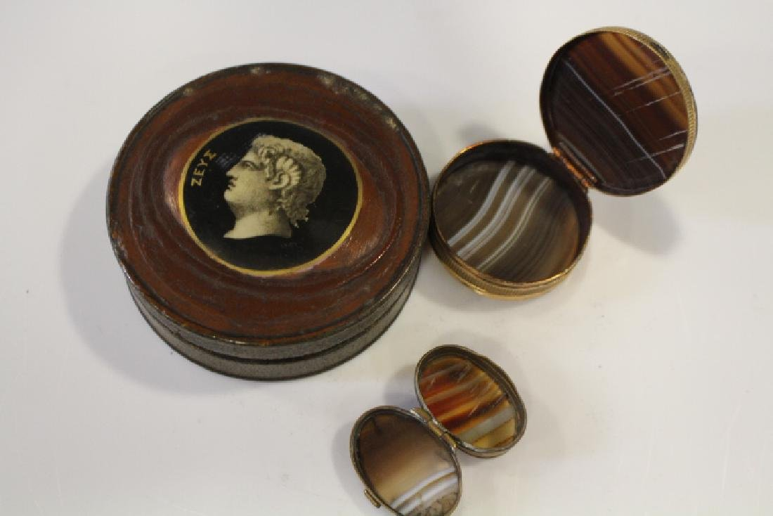 Lot of 3 Snuff Boxes - 2 w/ Agate