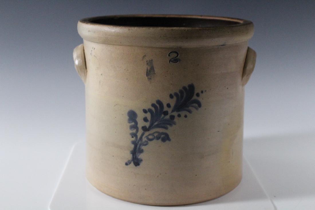 2 Gallon Stoneware Crock w/ Cobalt Fern