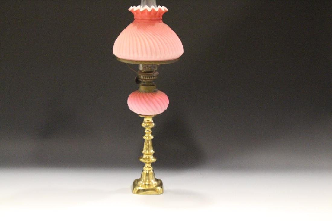 Victorian Peg Lamp Cased Glass