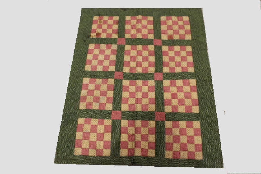 19th to Early 20th C 9-Patch Amish Crib Quilt