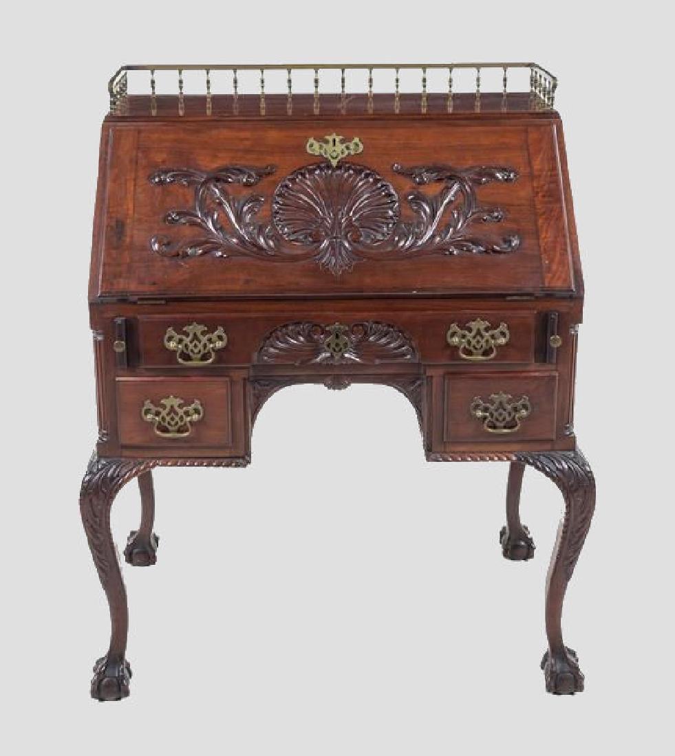 Chippendale Mahogany Slant Front Desk