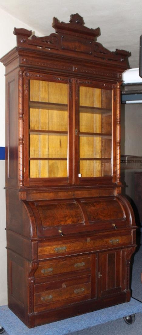 19th C Walnut Bookcase Cylinder Roll Desk