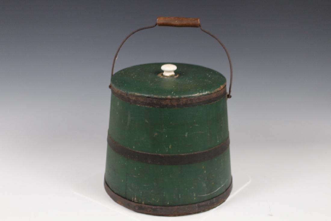 19th C Green Firkin Sugar Bucket - w/ Original Label