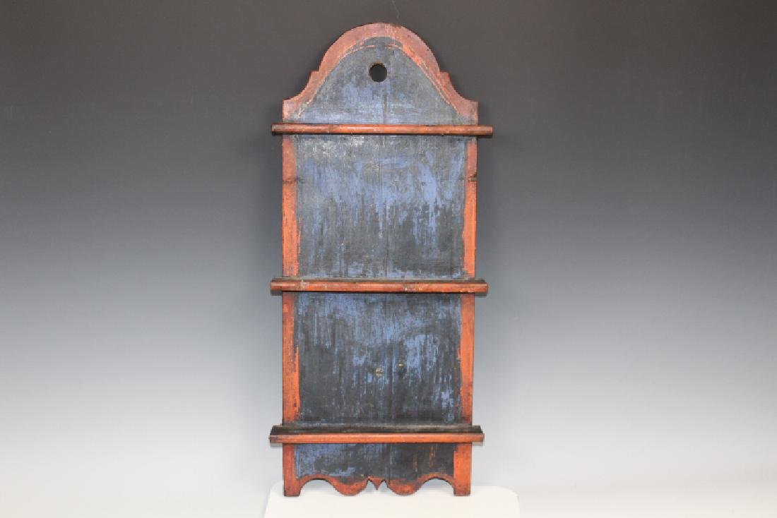 19th C Paint Decorated Pine Spoon Rack