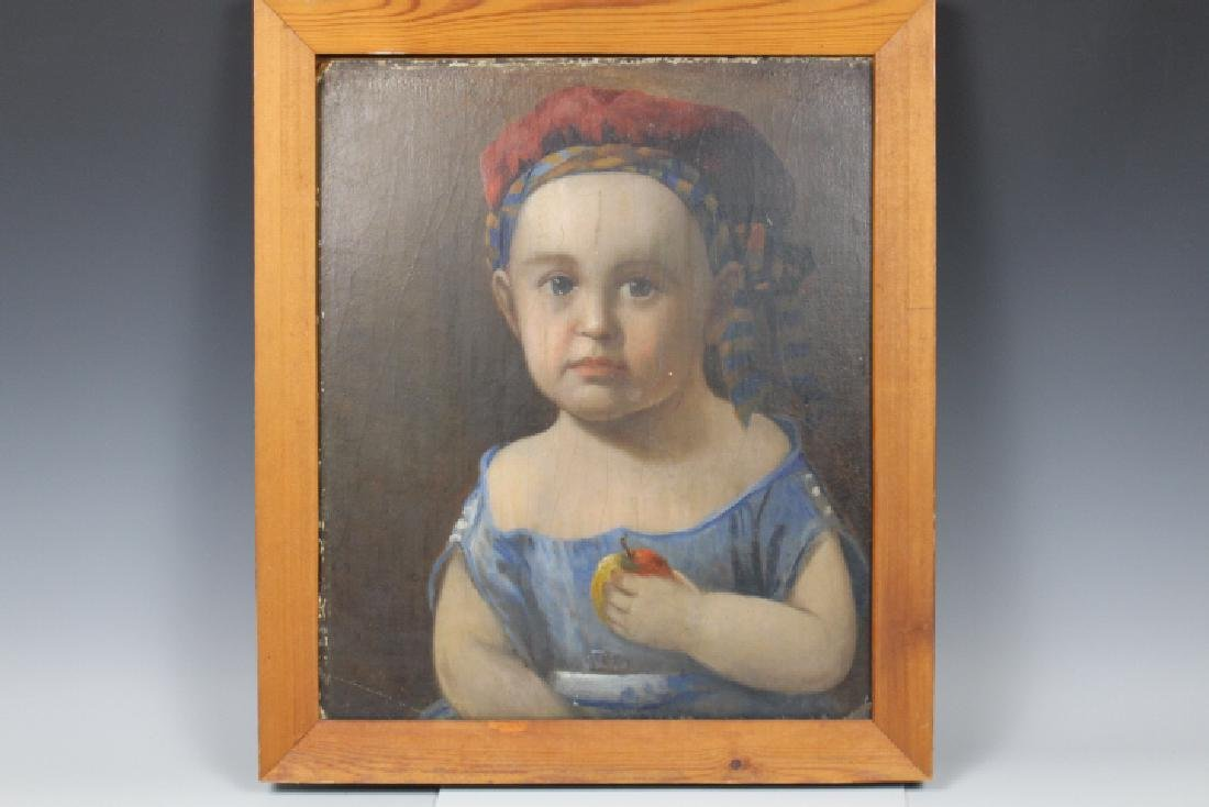 19th C Oil on Board Painting of a Toddler / Baby