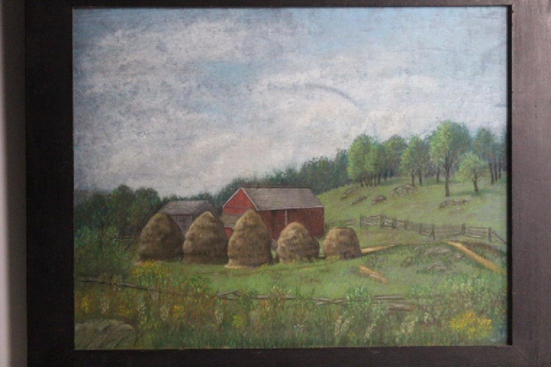 Pastel Painting - Farm Scene w/ Haystacks