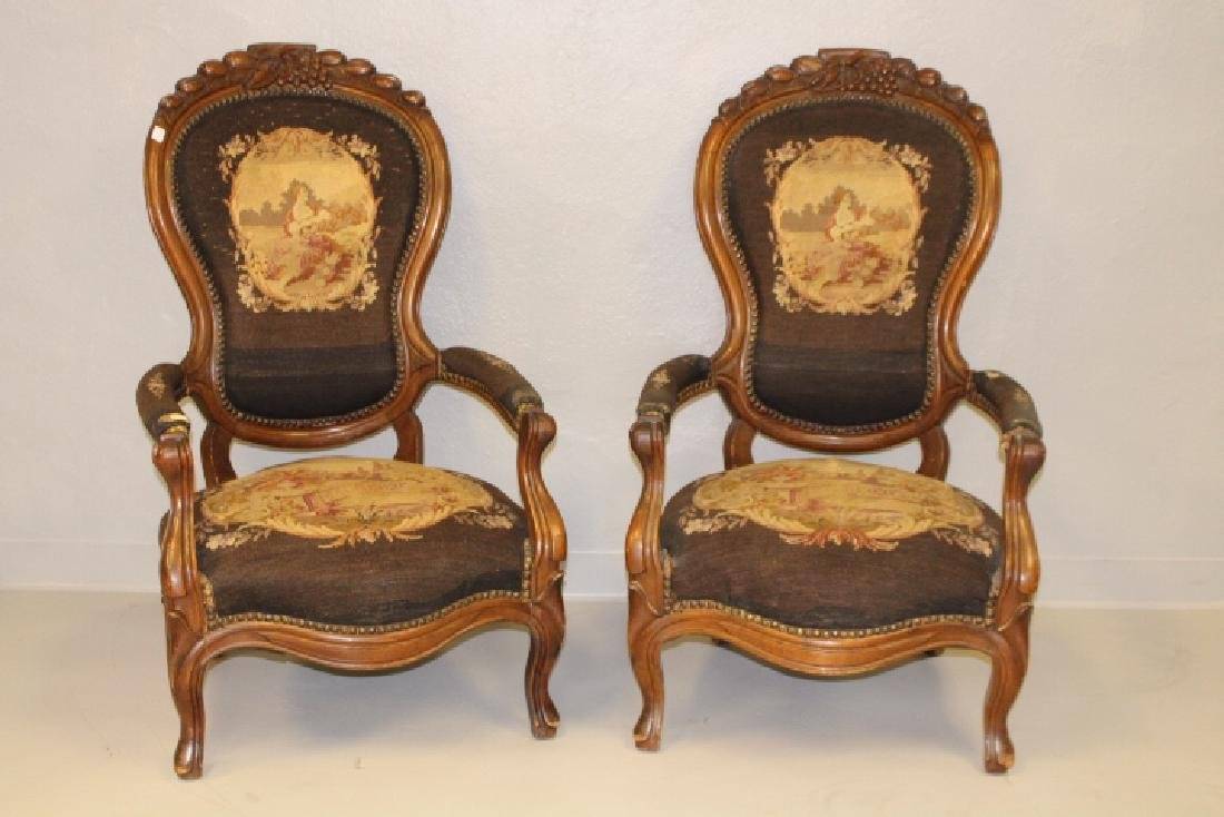 Pr. Carved Walnut Victorian Needlepoint Parlor Chairs