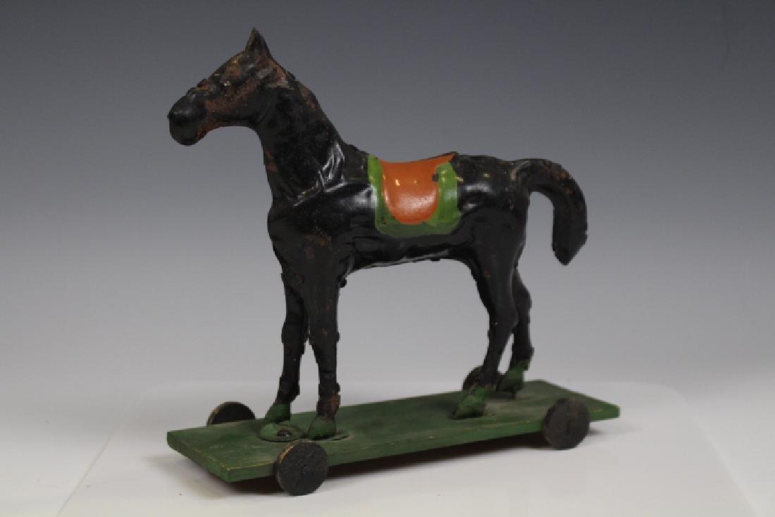 Tin Horse Pull Toy on Platform