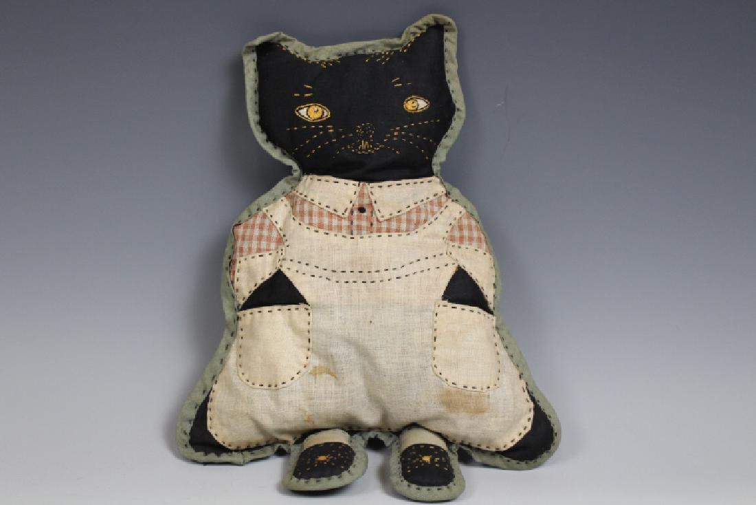 Folk Art Hand-Sewn Kitten Doll - Early 20th C