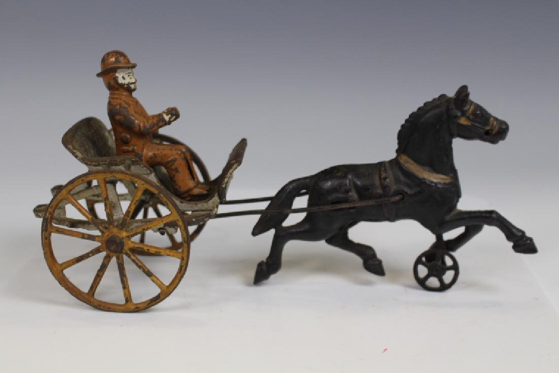 Cast Iron Sulky Cart w/ Driver and Horse