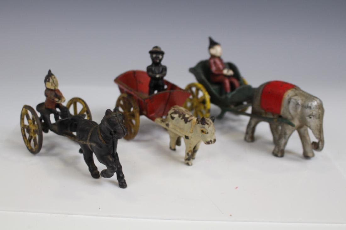Cast Iron Carts w/ Drivers, Elephant, Cow & Horse