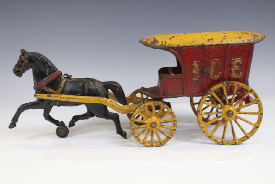 Cast Iron Ice Delivery Wagon w/ Horse