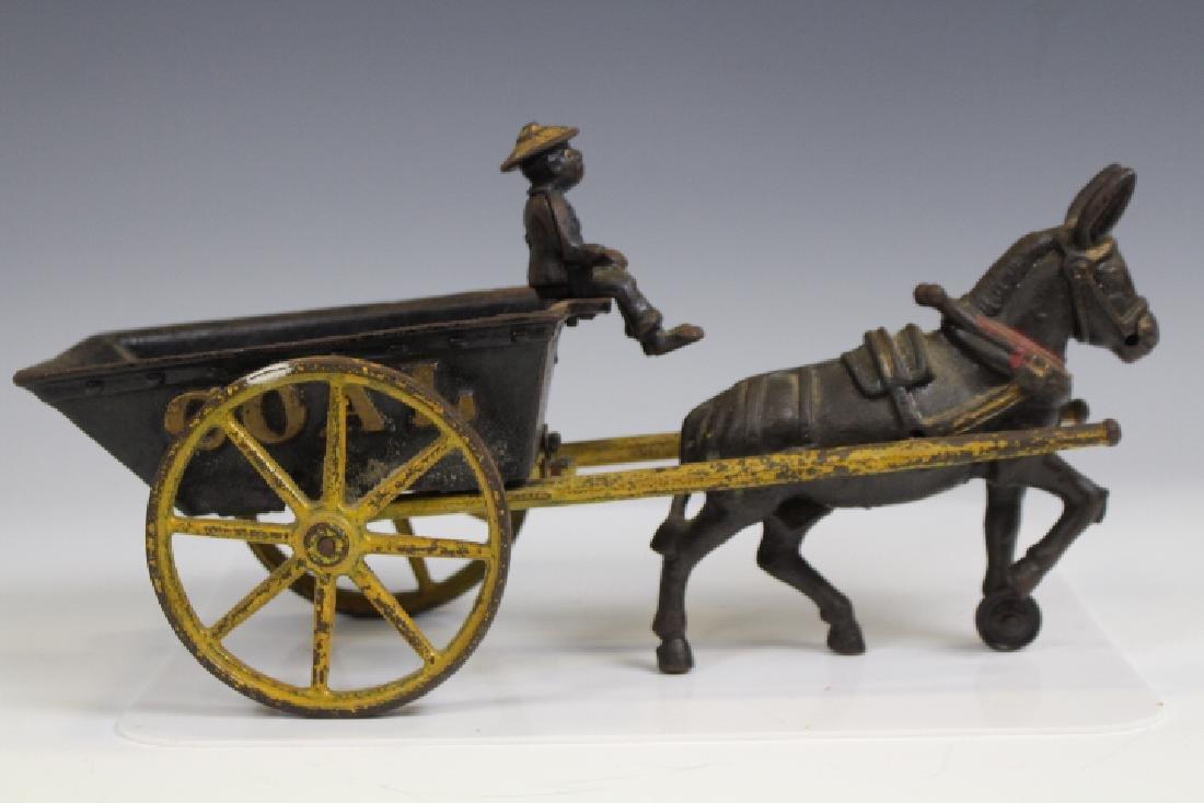 Cast Iron Coal Cart w/ Black Man & Mule
