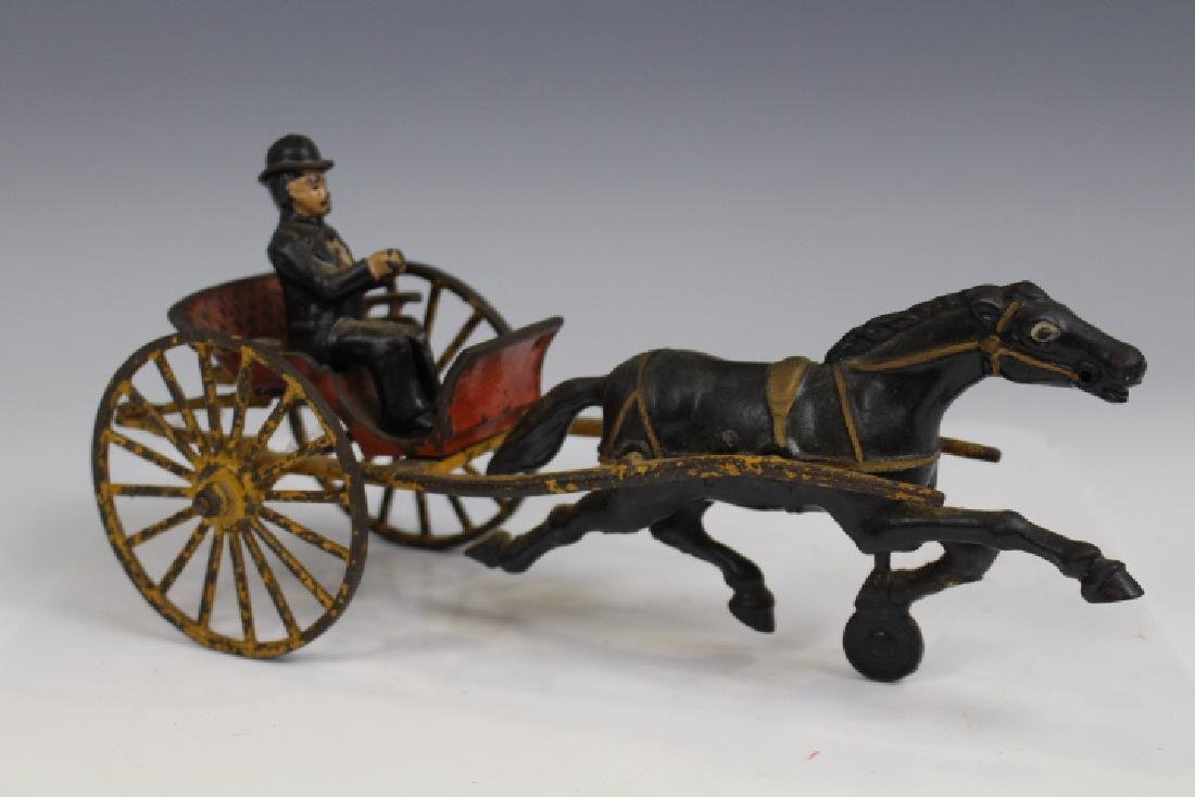 Cast Iron Sulky w/ Horse and Driver