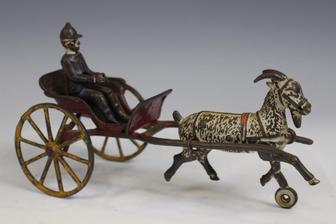 Cast Iron Sulky Cart w/ Jockey Driver and Goat