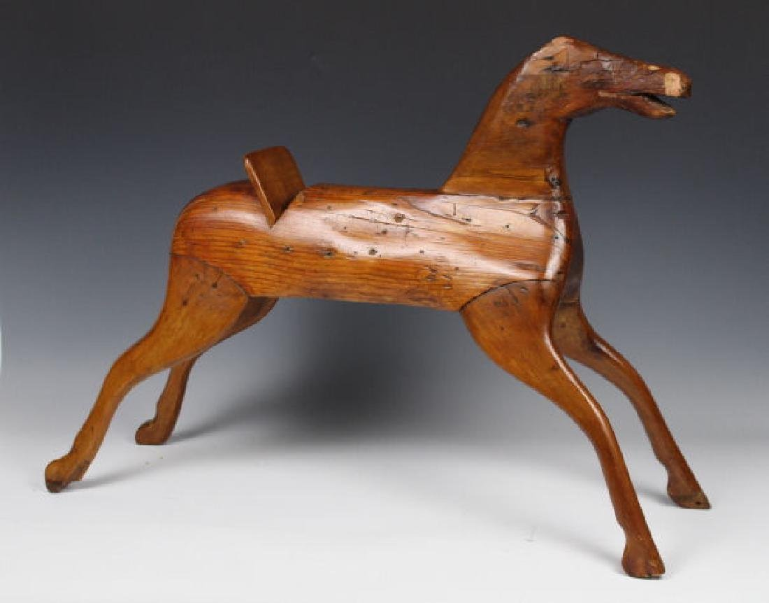 19th C Folk Art Carved Wooden Horse