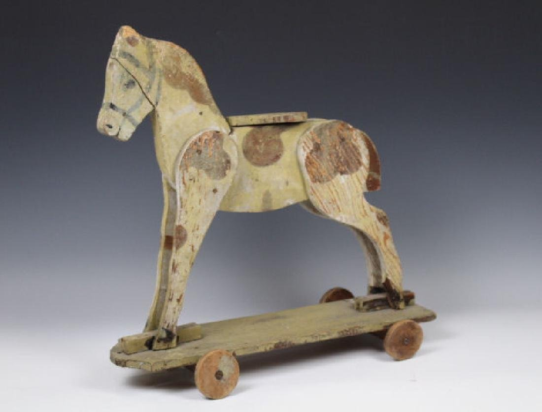 Folk Art Wooden Horse Pull Toy on Platform