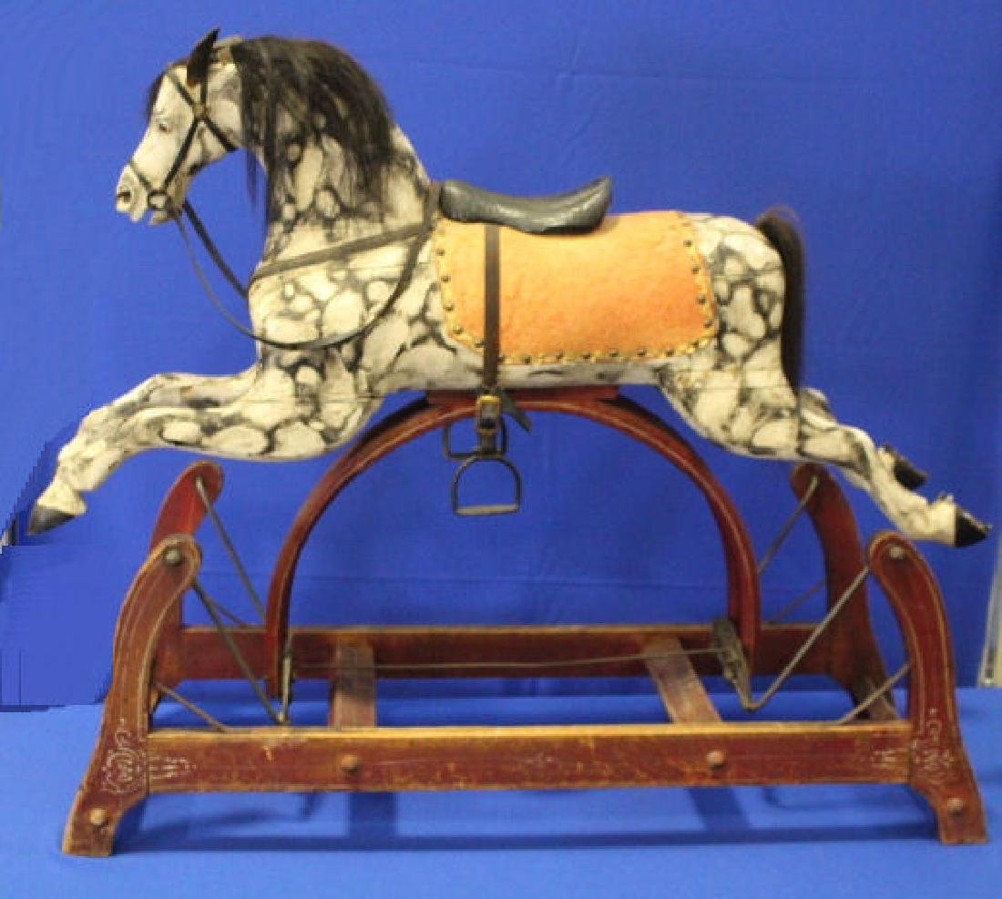Victorian Wooden Rocking Horse on Platform
